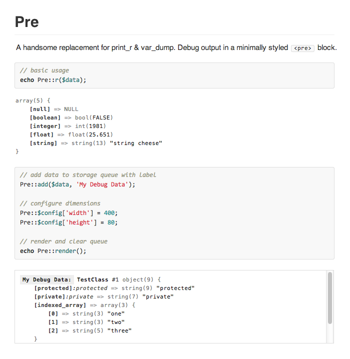 php pre